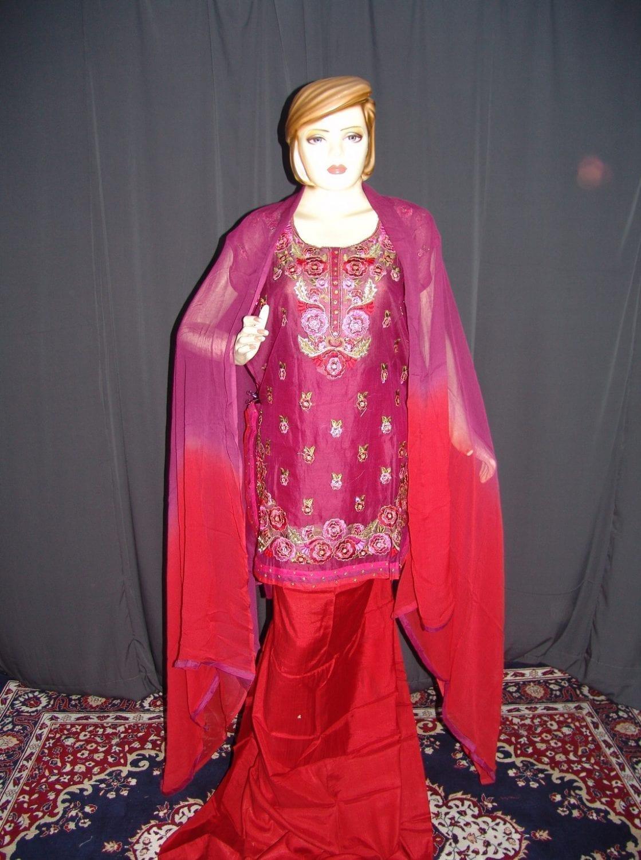 Machine embroidered CHANDERI cotton Suit CHIFFON dupatta M0250 1