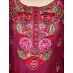 Machine embroidered CHANDERI cotton Suit CHIFFON dupatta M0250