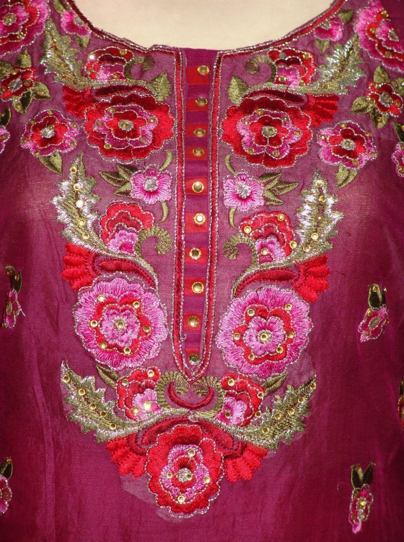 Machine embroidered CHANDERI cotton Suit CHIFFON dupatta M0250 2