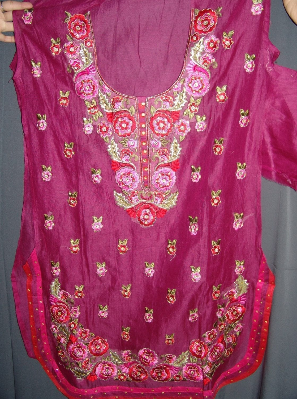 Machine embroidered CHANDERI cotton Suit CHIFFON dupatta M0250 3