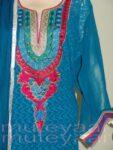 PAKISTANI Long embr Kameez half CHIFFON dupatta Suit M0264