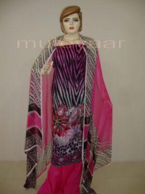 Pink Cheeta Print embr Kameez half CHIFFON dupatta Suit M0265