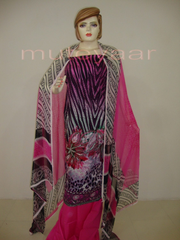 Pink Cheeta Print embr Kameez half CHIFFON dupatta Suit M0265 1
