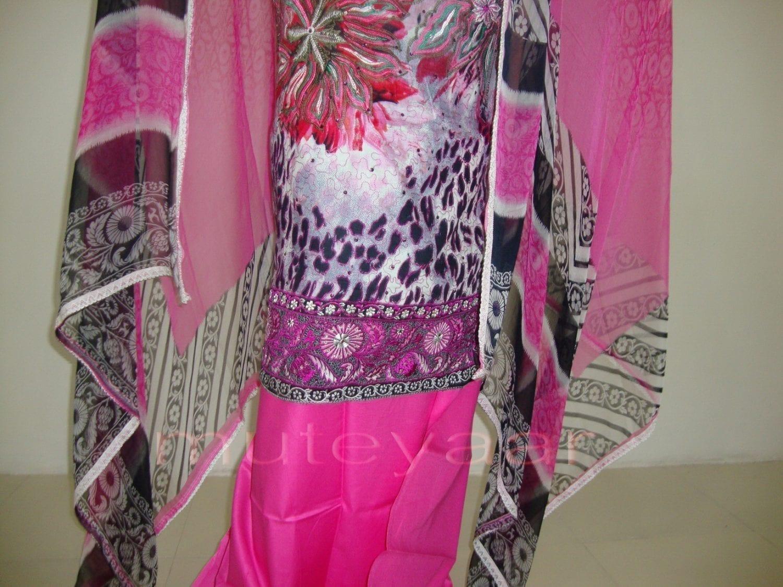 Pink Cheeta Print embr Kameez half CHIFFON dupatta Suit M0265 2