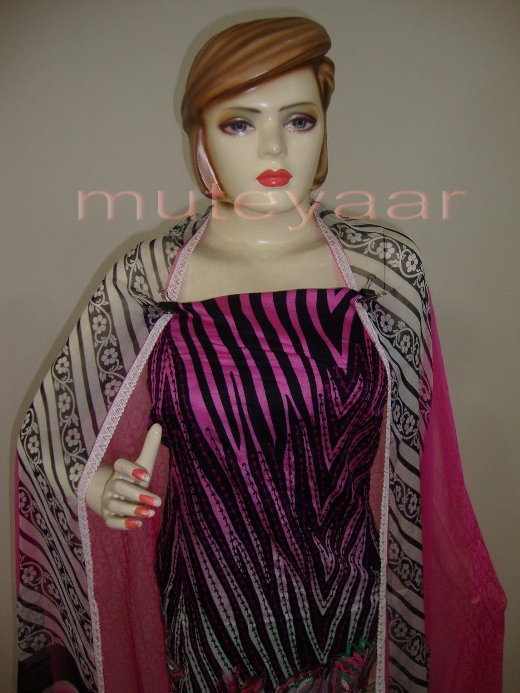 Pink Cheeta Print embr Kameez half CHIFFON dupatta Suit M0265 3