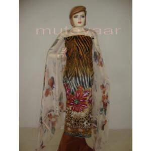 Cheeta Print embr Kameez half CHIFFON dupatta Suit M0267