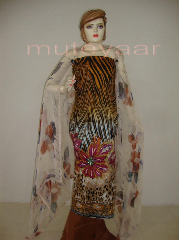 Cheeta Print embr Kameez half CHIFFON dupatta Suit M0267 1