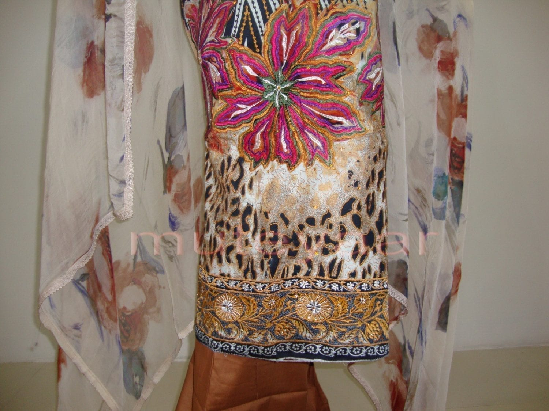 Cheeta Print embr Kameez half CHIFFON dupatta Suit M0267 2