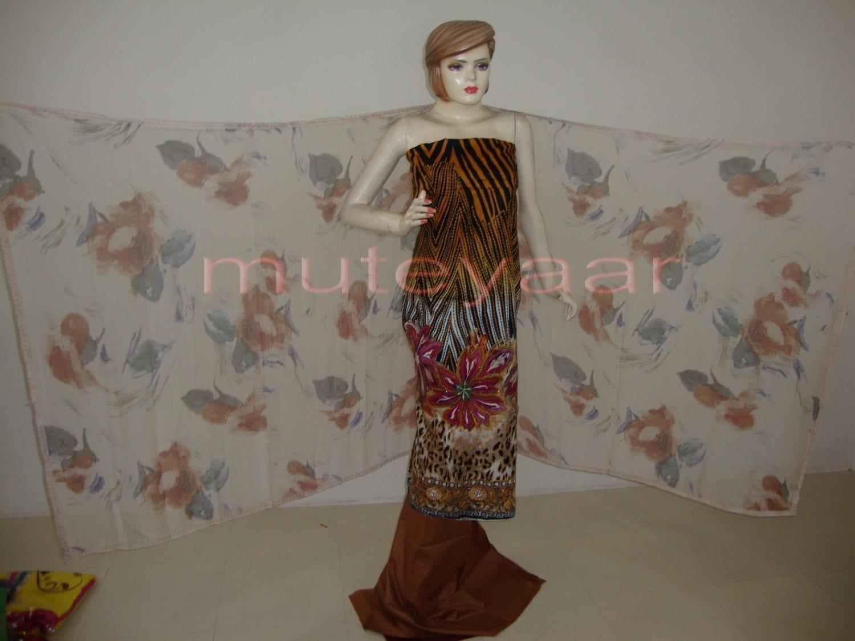 Cheeta Print embr Kameez half CHIFFON dupatta Suit M0267 3