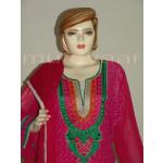 PAKISTANI Long embr Kameez half CHIFFON dupatta Suit M0269