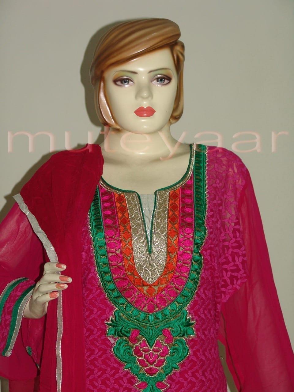 PAKISTANI Long embr Kameez half CHIFFON dupatta Suit M0269 2