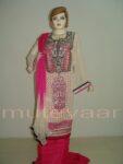 PAKISTANI Long embr Kameez half CHIFFON dupatta Suit M0270
