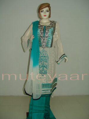 PAKISTANI Long embr Kameez half CHIFFON dupatta Suit M0271