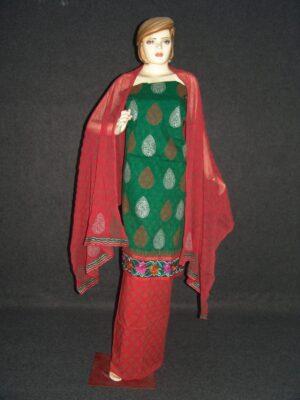 M/C embroidered COTTON Suit Half Pure CHIFFON chunni M0274