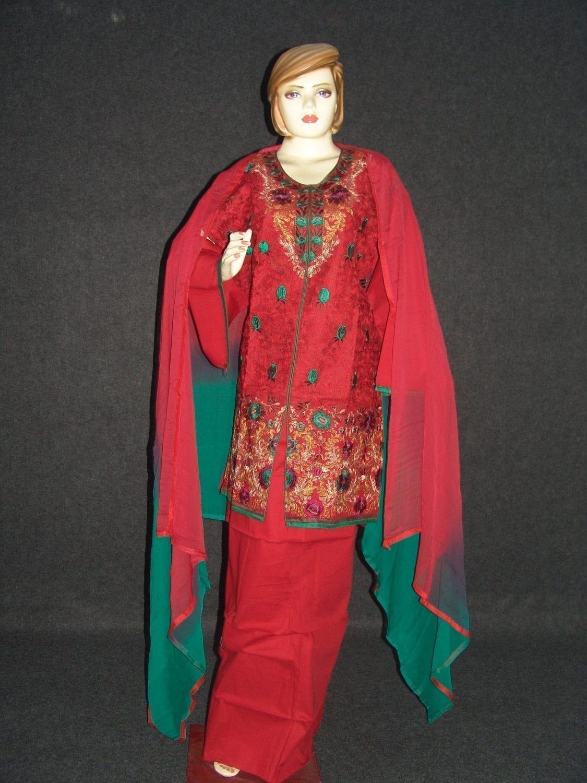 Jaal embroidered COTTON Suit Half Pure CHIFFON chunni M0277 1