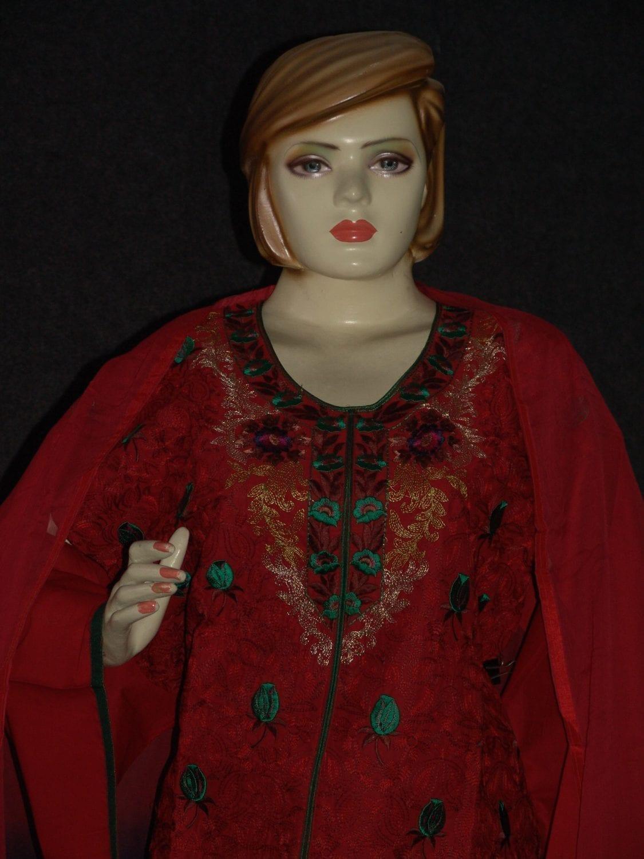 Jaal embroidered COTTON Suit Half Pure CHIFFON chunni M0277 2