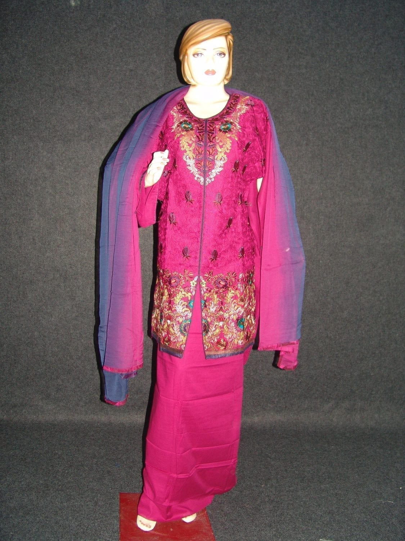 Jaal embroidered COTTON Suit Half Pure CHIFFON chunni M0278 1