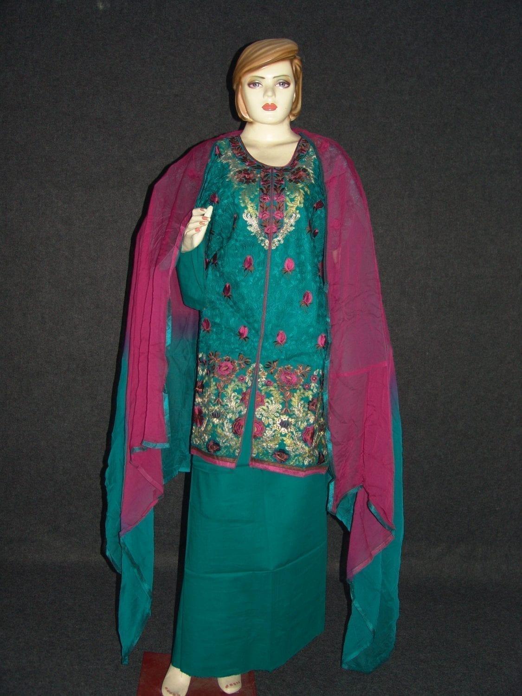 Jaal embroidered COTTON Suit Half Pure CHIFFON chunni M0279 1