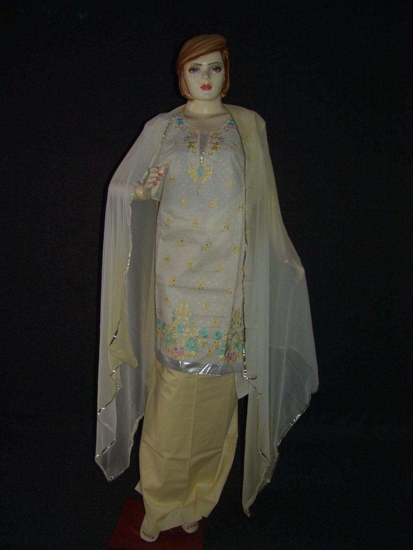 M/C embroidered COTTON Salwar Kameez Faux chiffon chunni M0284 1