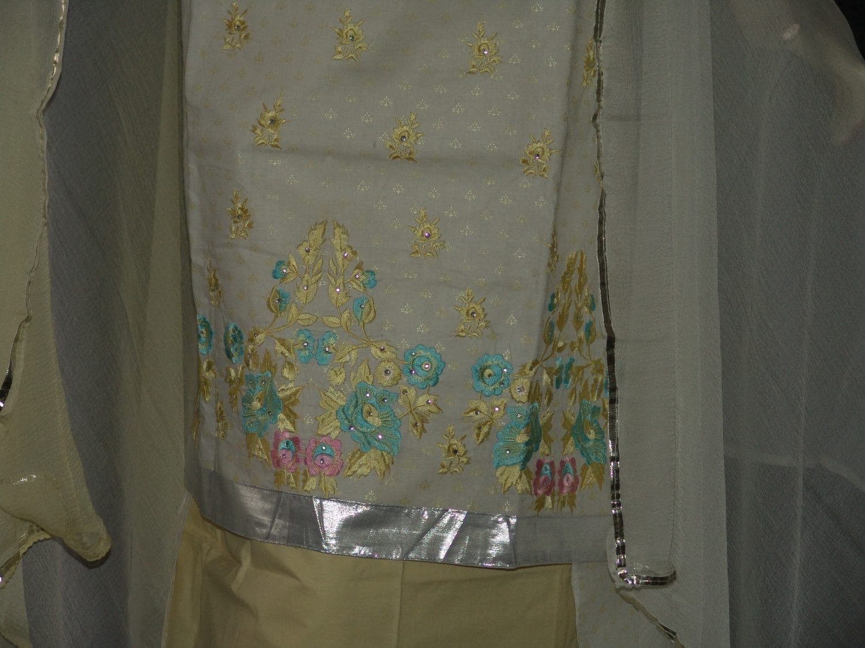 M/C embroidered COTTON Salwar Kameez Faux chiffon chunni M0284 3