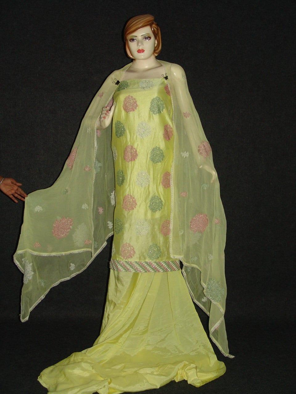Chanderi Cotton Light Yellow m/c embr Salwar Suit M0292 1