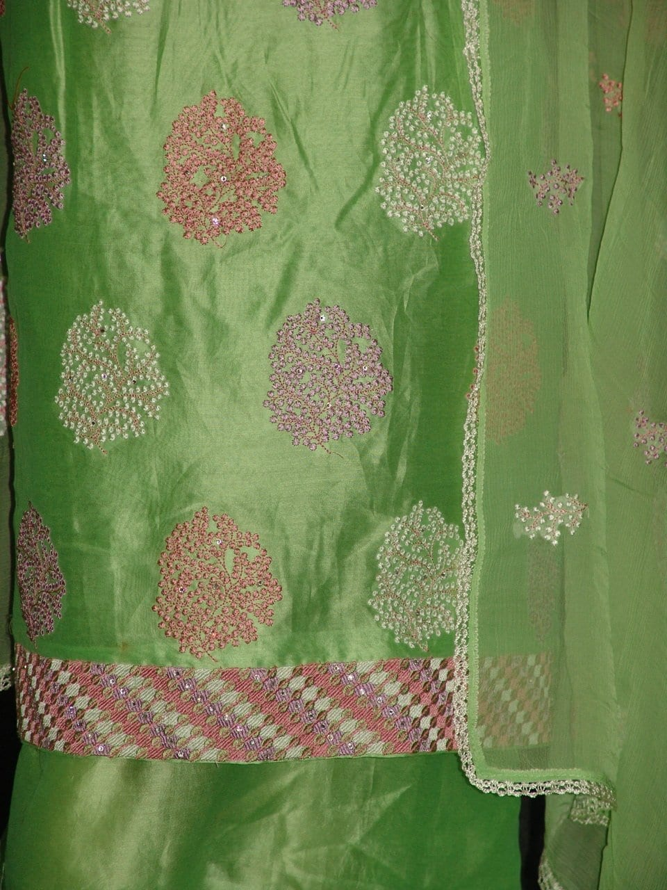 Chanderi Cotton Light Green m/c embr Salwar Suit M0293
