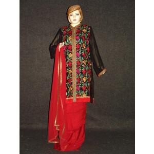 Pakistani ACHKAN style Georgette Embr. Pajami Suit M0308