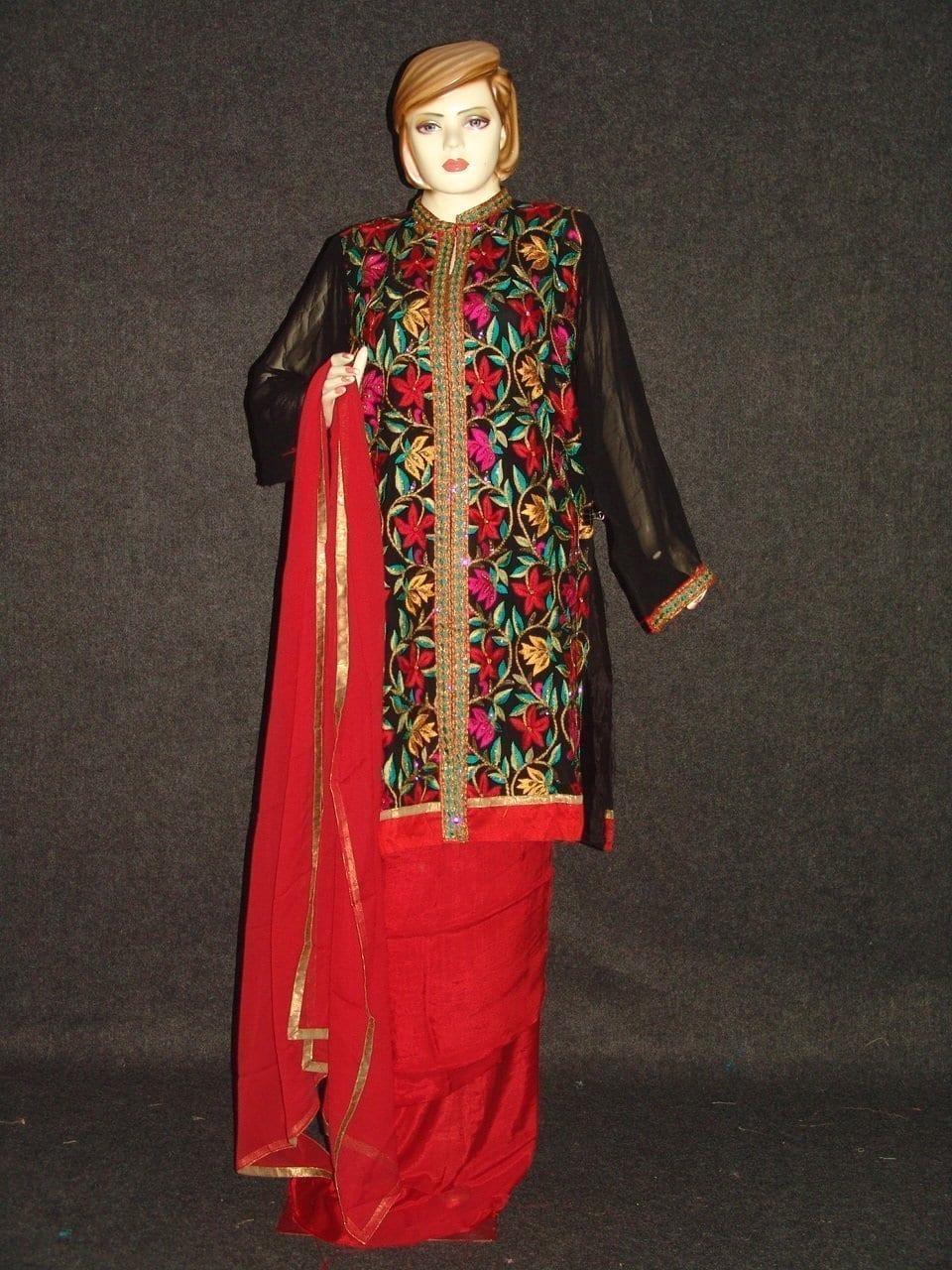 Pakistani ACHKAN style Georgette Embr. Pajami Suit M0308 1