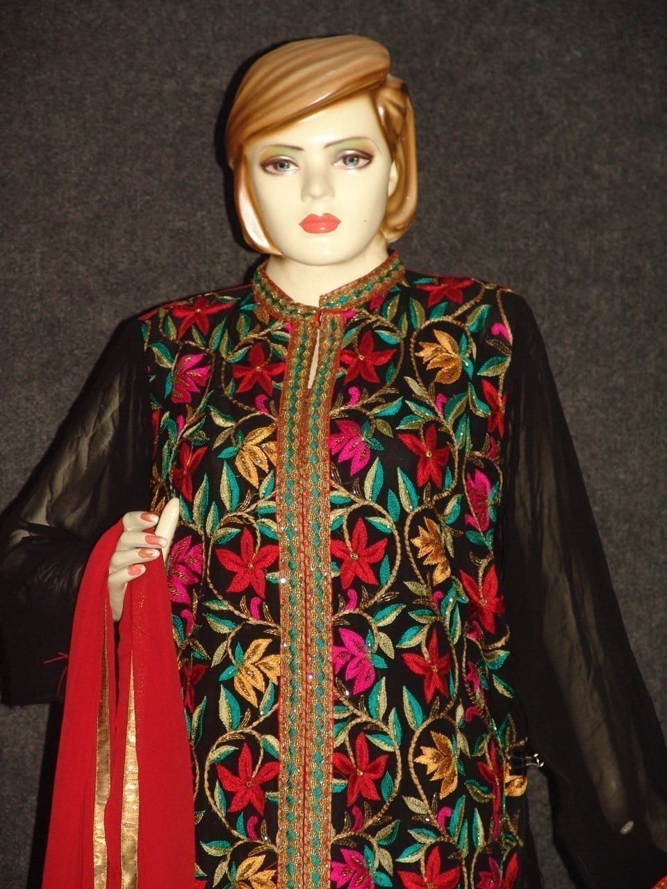 Pakistani ACHKAN style Georgette Embr. Pajami Suit M0308 2