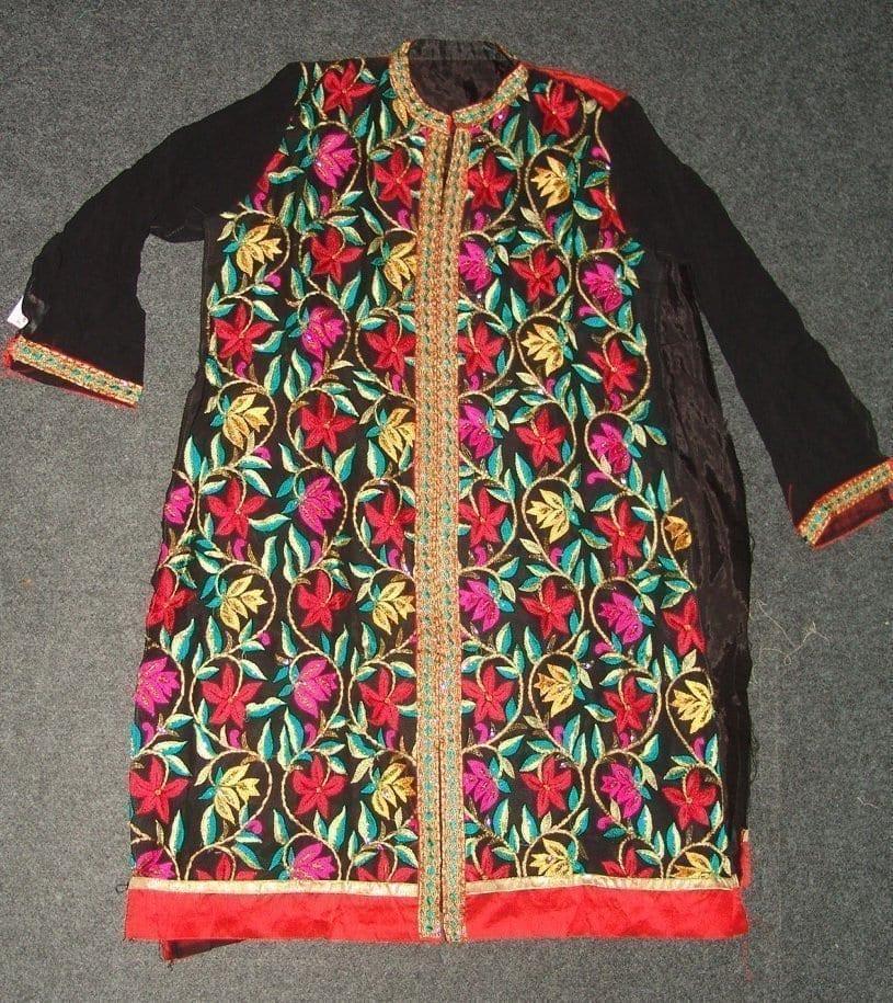 Pakistani ACHKAN style Georgette Embr. Pajami Suit M0308 4