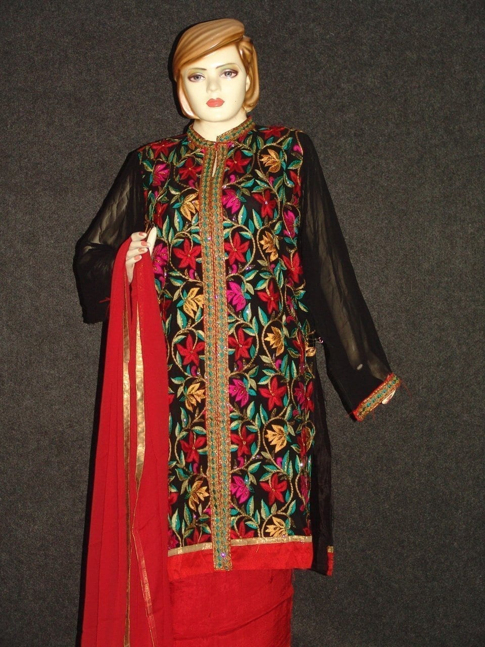 Pakistani ACHKAN style Georgette Embr. Pajami Suit M0308 5