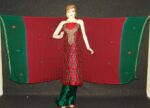 Pure Dupion Silk Maroon/green mbroidered Pajami Suit M0309