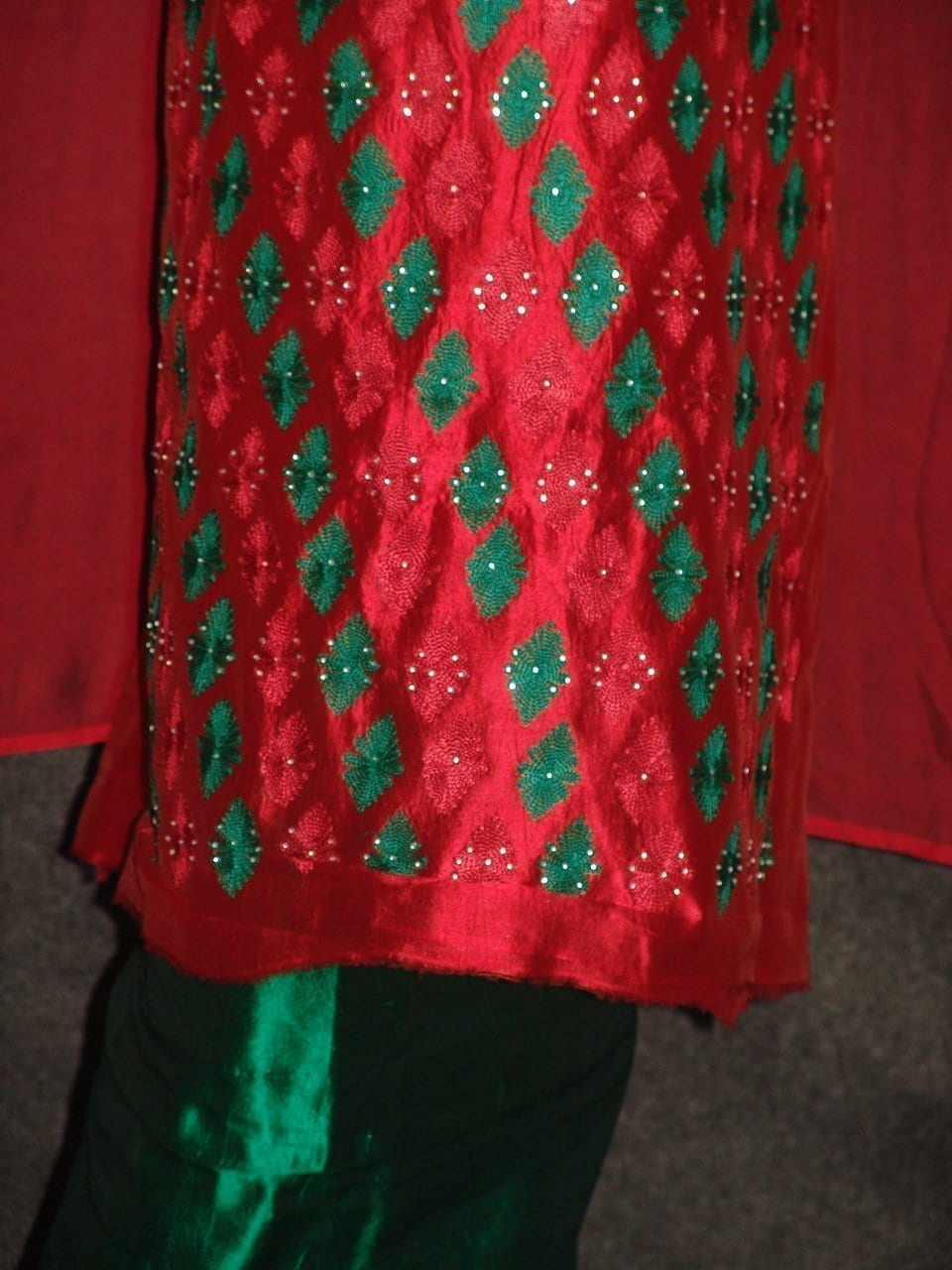 Pure Dupion Silk Maroon/green mbroidered Pajami Suit M0309 2