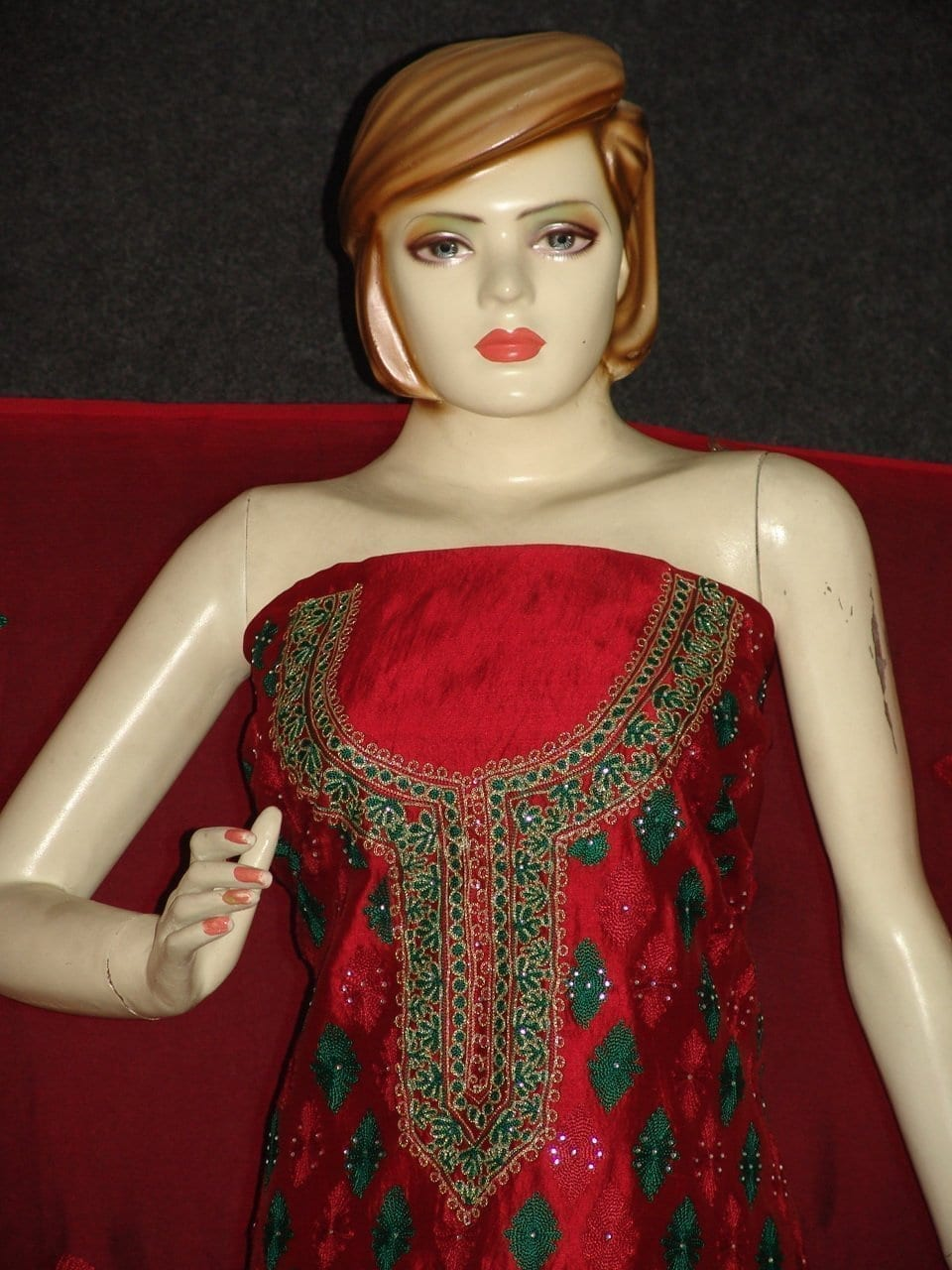 Pure Dupion Silk Maroon/green mbroidered Pajami Suit M0309 3