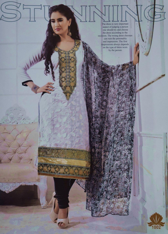 Pakistani style Embroidered Spun Cotswool Pajami Suit Chiffon Dupatta M0311 1