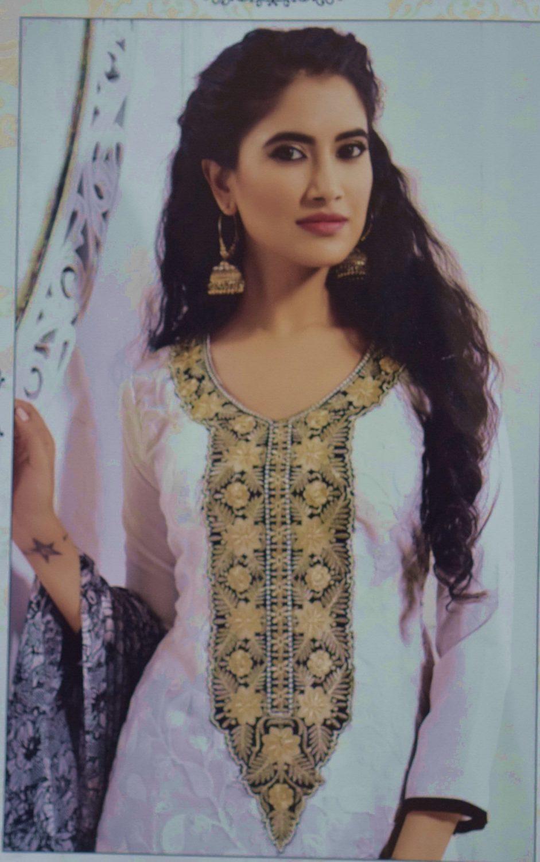 Pakistani style Embroidered Spun Cotswool Pajami Suit Chiffon Dupatta M0311