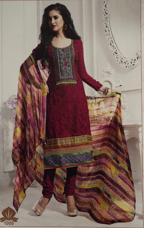 Pakistani style Embroidered Spun Cotswool Pajami Suit Chiffon Dupatta M0314 1