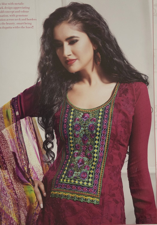 Pakistani style Embroidered Spun Cotswool Pajami Suit Chiffon Dupatta M0314 2