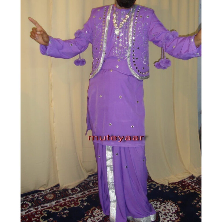Mauve Mirrors work Bhangra dance dress outfit costume