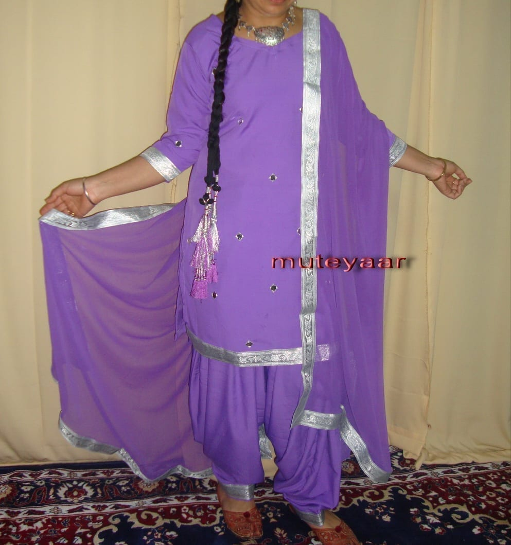 mauve mirrors work Girl's Bhangra Costume outfit dance dress 1