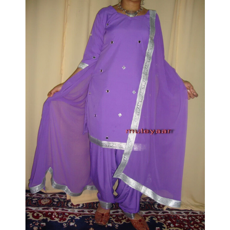 mauve mirrors work Girl's Bhangra Costume outfit dance dress