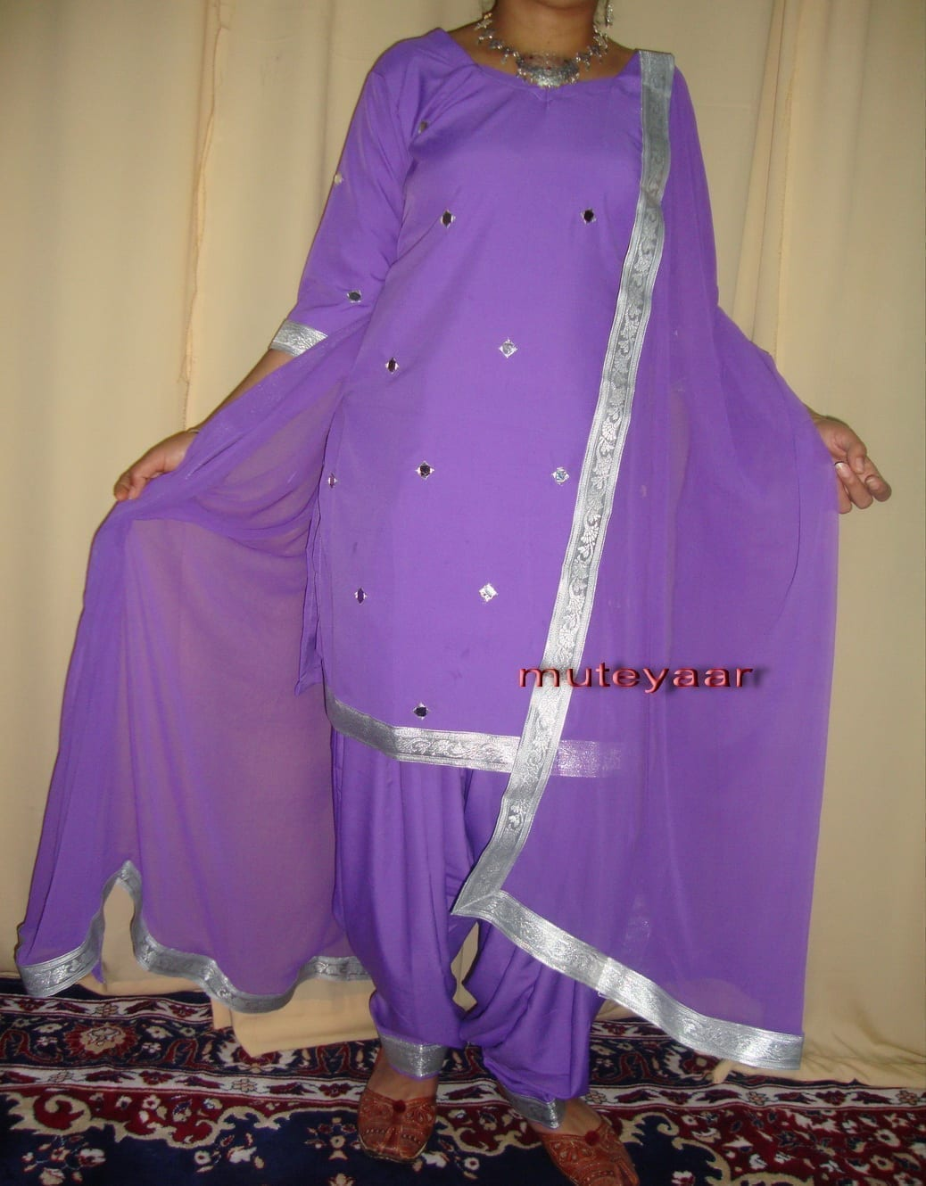 mauve mirrors work Girl's Bhangra Costume outfit dance dress 2