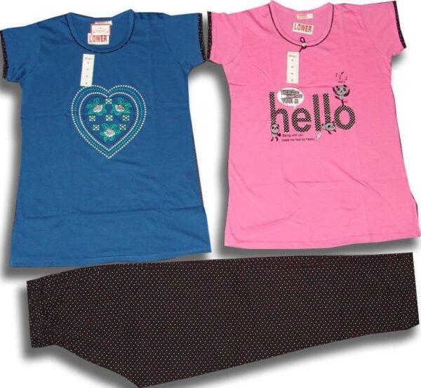 Set of 3 Pieces Soft Cotton Hosiery Fabric Ladies Night Suit M Size (MEDIUM) NS117