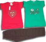 Set of 3 Pieces Soft Cotton Hosiery Fabric Ladies Night Suit M Size (MEDIUM) NS118