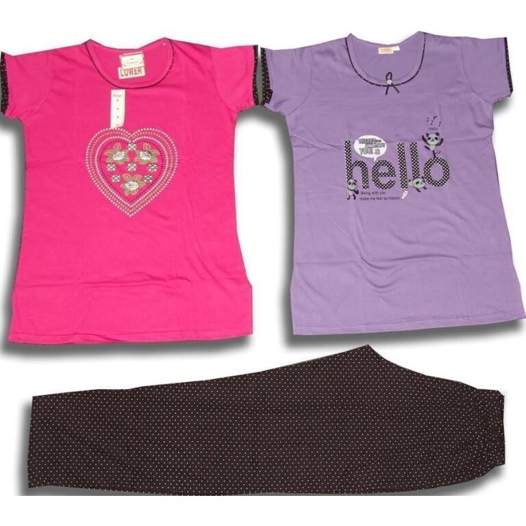 Set of 3 Pieces Soft Cotton Hosiery Fabric Ladies Night Suit M Size (MEDIUM) NS119