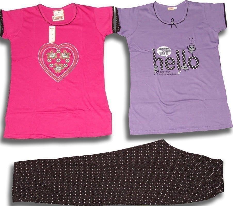Set of 3 Pieces Soft Cotton Hosiery Fabric Ladies Night Suit M Size (MEDIUM) NS119 1