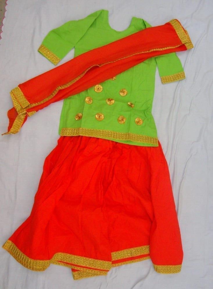 Orange green custom made GIDDHA  Costume outfit dance dress 1
