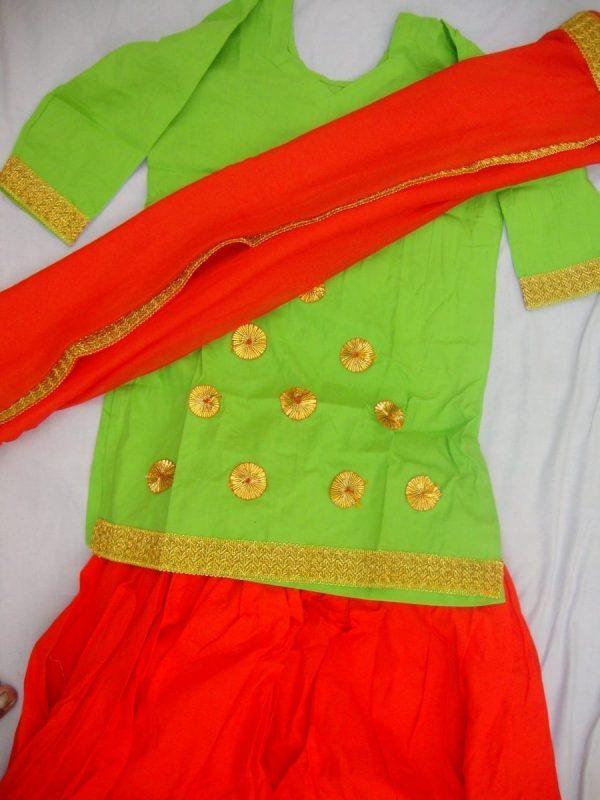 Orange green custom made GIDDHA  Costume outfit dance dress
