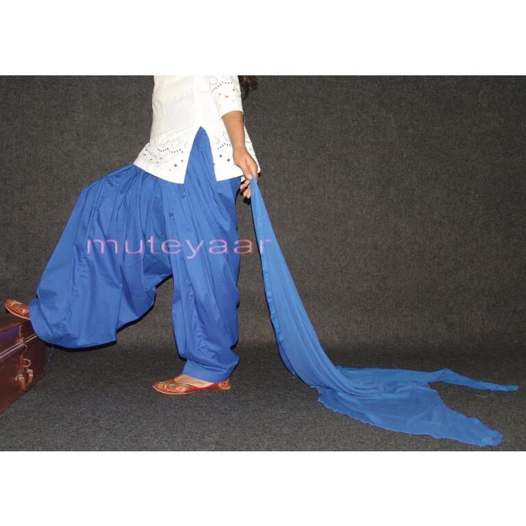 100% Pure Cotton BLUE Patiala Salwar + matching Chiffon dupatta