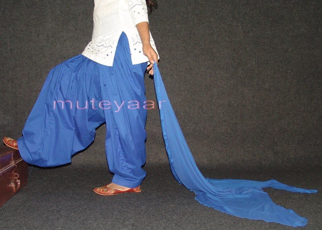 100% Pure Cotton BLUE Patiala Salwar + matching Chiffon dupatta 1